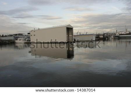 Ballard Lock on Union Lake Seattle, view of the marina after the locks