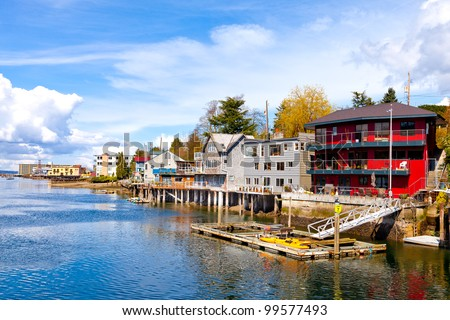 Ballard neighborhood, in Seattle, Washington.  Waterfront houses overlooking the Lake Washington ship canal.