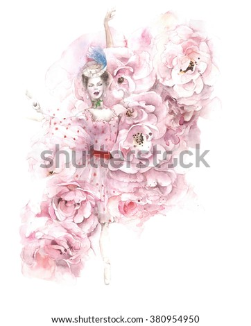 Ballerina dancing flowers roses ballet watercolor painting illustration isolated on white background #380954950