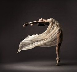 Ballerina Dancing with Silk Fabric, Modern Ballet Dancer in Fluttering Waving Cloth, Pointe Shoes, Gray Background