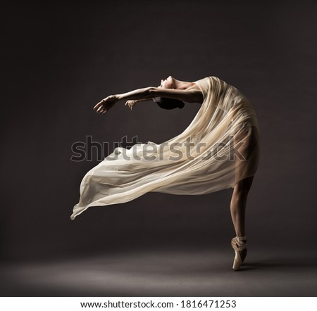 Ballerina Dancing with Silk Fabric, Modern Ballet Dancer in Fluttering Waving Cloth, Pointe Shoes, Gray Background ストックフォト ©