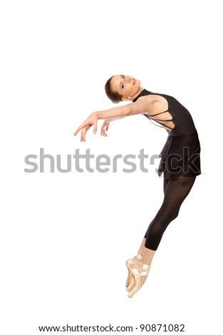 Ballerina posed gracefully isolated on white - stock photo