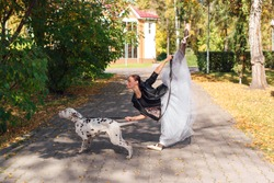 Ballerina with Dalmatian dog in the golden autumn park. Woman ballerina in a white ballet skirt and black leather jacket posing in pointe shoes in autumn park with her spotty dalmatian dog.
