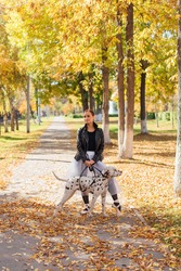Ballerina with Dalmatian dog in the golden autumn park. Woman ballerina in a white ballet skirt and black leather jacket dancing in pointe shoes in autumn park with her spotty dalmatian dog.