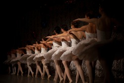 Ballerinas are in a row. The girls are lined up one after the other on the stage. Ballerinas in white tutus have their backs to the camera. Girls performing on a darkened stage.