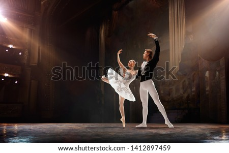 Ballet. Classical ballet performed by a couple of ballet dancers on the stage of the opera house.