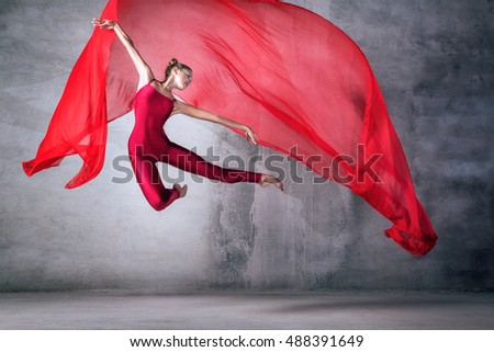 ballet dancer in the work, the dancer with a cloth, a girl with a beautiful body, elegantly girl, graceful woman, lady in red, athletic body, time show, the girl in flight, red silk in air, - Shutterstock ID 488391649