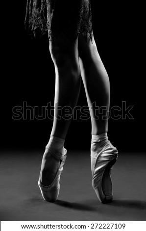 ballet dancer legs pointes, black and white photos
