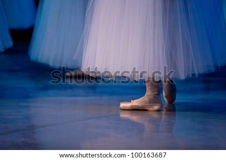 ballet dancers in slippers - stock photo