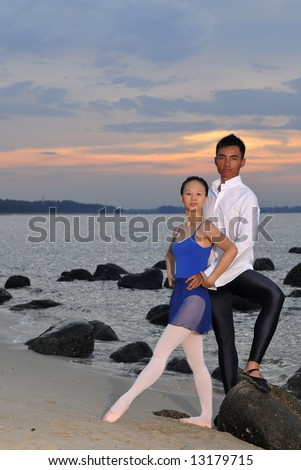 ballet in the outdoors - stock photo