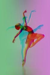 Ballet. Multiple portrait with glitch duotone effect. Multiple exposure, abstract fashionable beauty photo. Young beautiful female model posing. Youth culture, composite image, fashionable people.