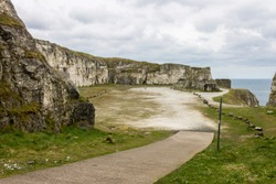 Ballintoy, Northern Ireland. The Larry Bane Quarry, a famous filming location for fantasy TV shows