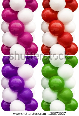 Ballon Set Isolated On White Background With Different Color Decisions