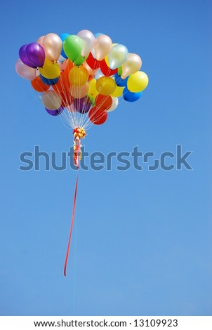 Ballons in the blue sky do happen occationally in sports event and launching ceremony.