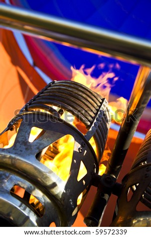Balloon burner close up with flame