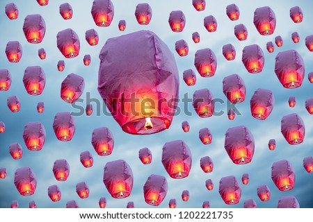 balloon fire flying lanterns, hot-air balloons Lantern flies up highly in the sky. #1202221735