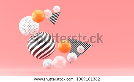 Balloon floating on a pink background 3d render