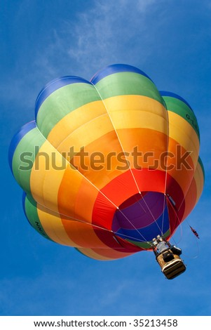 balloon flying into the bright blue sky on a bright sunny day in summer. photo was taken during the Bristol annual international hot balloon fiesta, uk.