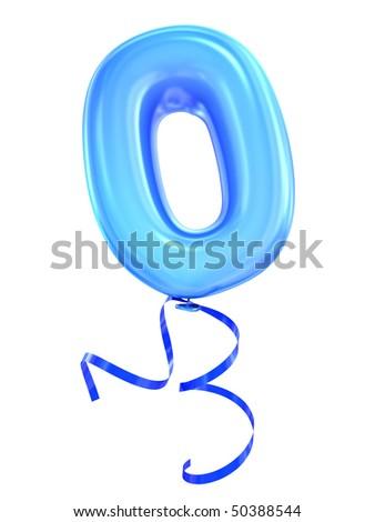 Balloon font number zero
