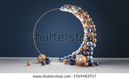 Balloon garland decoration elements. Frame arch for wedding, birthday, anniversary party celebration. Dark blue and gold banner background with round empty space. 3d render illustration.