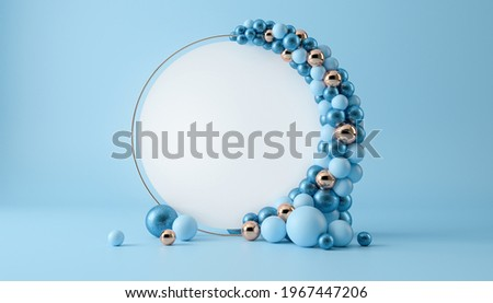 Balloon garland decoration elements. Frame arch for wedding, birthday, baby shower party celebration. Pastel blue and gold banner background with white round empty space. 3d render illustration.