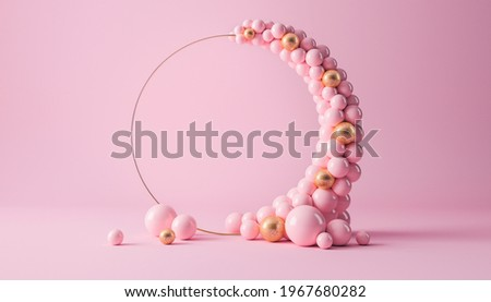 Balloon garland decoration elements. Frame arch for wedding, birthday, baby shower party celebration. Pastel pink and gold banner background with round empty space. 3d render illustration.