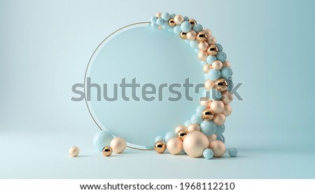 Balloon garland decoration elements. Frame arch for wedding, birthday, baby shower party celebration. Pastel turquoise and gold banner background with white round empty space. 3d render illustration.