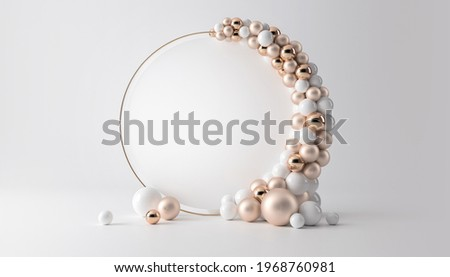 Balloon garland decoration elements. Frame arch for wedding, birthday, baby shower party celebration. Pastel  white and gold banner background with round empty space. 3d render illustration.