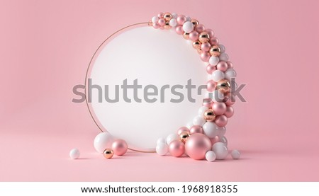 Balloon garland decoration elements. Frame arch for wedding, birthday, baby shower party celebration. Pastel pink, white and gold banner background with round empty space. 3d render illustration.