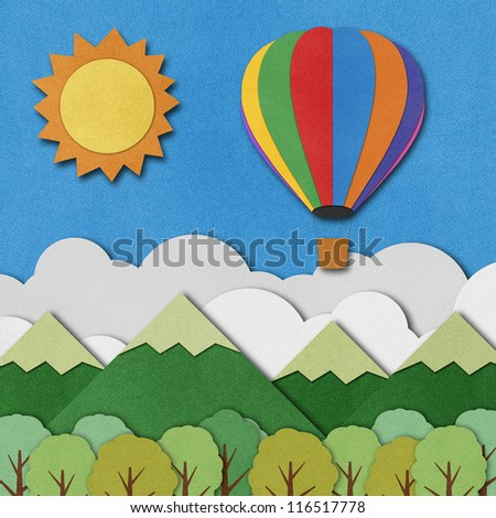 Balloon made from recycled paper background. - stock photo
