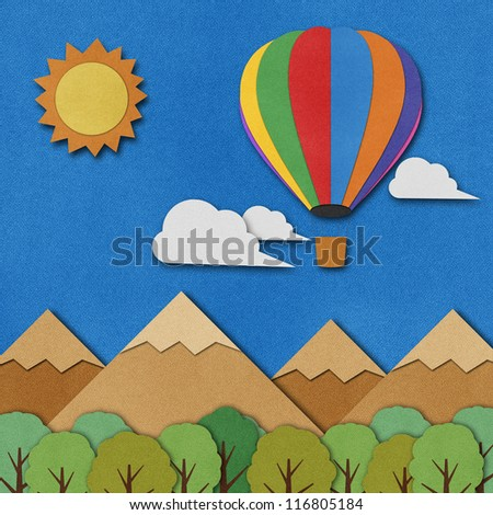 Balloon made from recycled paper background.
