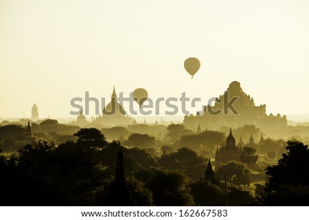 Balloon over pagodas in Bagan Myanmar