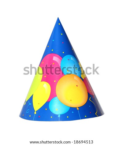 Balloon party hat isolated on white background