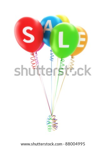 Balloon's spelling sale for advertisement of a big sale event or promotion on a white background
