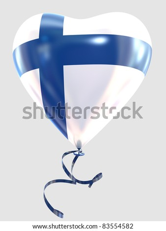 Balloon shape heart flag country Finland