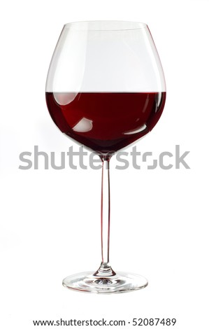 Balloon wineglass for bold,rich red wines isolated on white background