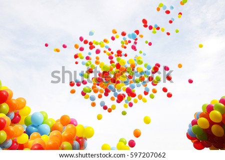 Balloon with colorful on sky concept