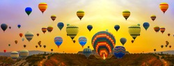 ballooning colorfull hot air balloons Summer Sunset Landscape