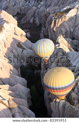 Ballooning the canyons of Cappadocia - stock photo