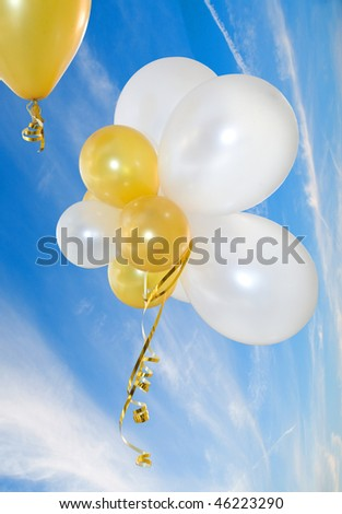 Balloons against the sky. Are isolated