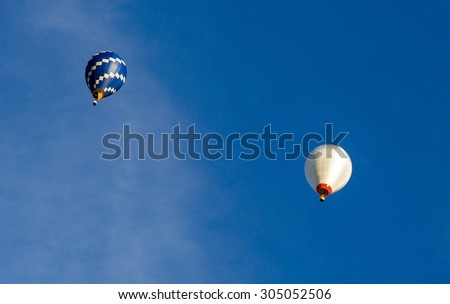 balloons, air craft against the blue sky. sports, hobbies