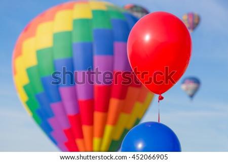 Stock Photo Balloons and hot air balloons, Sonoma County, California