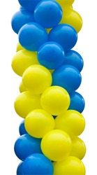 Balloons are yellow and blue in the group isolated on white background.