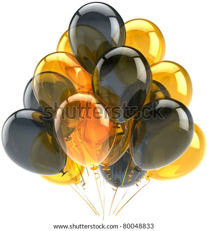 Balloons birthday party anniversary decoration yellow black translucent. Joy happy abstract. Holiday celebration greeting card design element. Detailed CG image 3d render. Isolated on white background