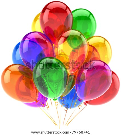 Balloons birthday party celebrate decoration multicolor balloon baloons. Happy joy fun icon. Holiday anniversary celebration occasion life events greeting card. 3d render isolated on white background