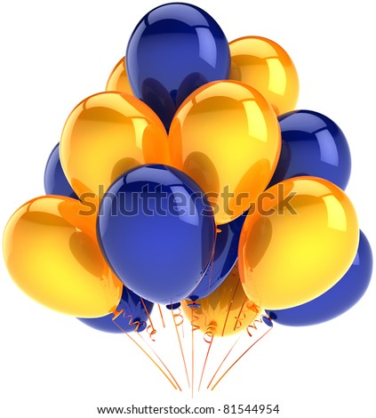 Balloons birthday party decoration yellow blue inflatable balloon. Anniversary occasion celebrate jubilee ceremony life events greeting card design element. 3d render isolated on white background