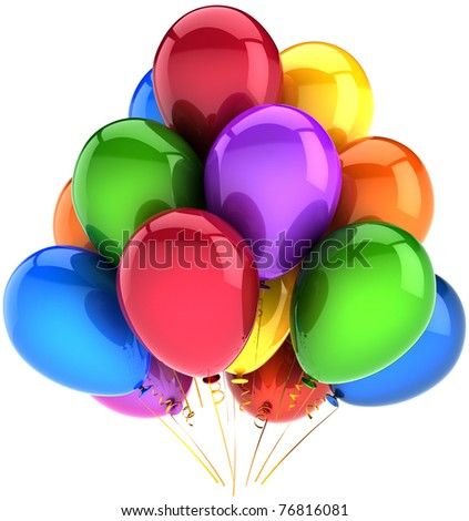 Balloons birthday party holiday decoration multicolor. Happy New Year. Happiness positive fun joy abstract. Anniversary celebration retirement concept. Detailed 3d render. Isolated on white background - stock photo