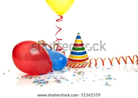 balloons, confetti, party hat and streamer on white background