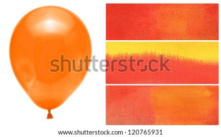 balloons decoration holiday orange abstract watercolor color natural canvas palette background
