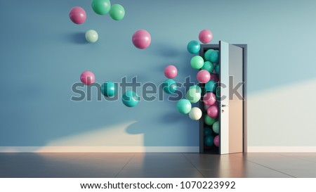 Balloons fly away through open door in office interior. 3D render